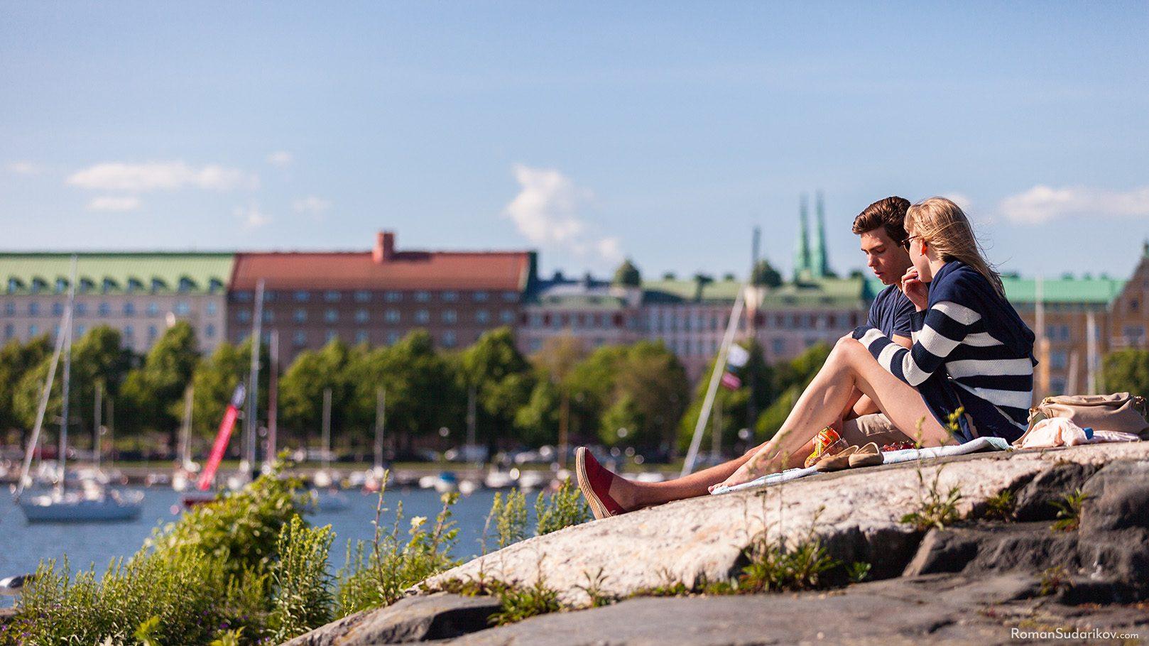 Молодая пара, Остров Уунисаари, Хельсинки, Финляндия