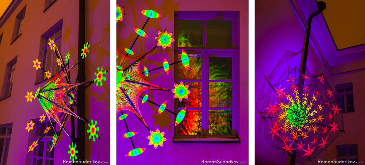 UV light installation Flowers of Life by Veikko Lappalainen in the inner courtyard of the University of Helsinki's Topelia building. Lux Helsinki 2017 Light Festival.