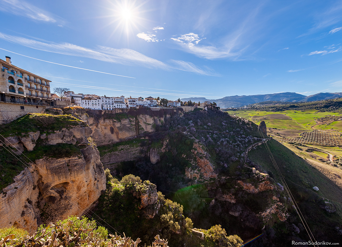 The mountain town Ronda is located on the edge of a cliff. Andalusia, Andalucia, Spain.