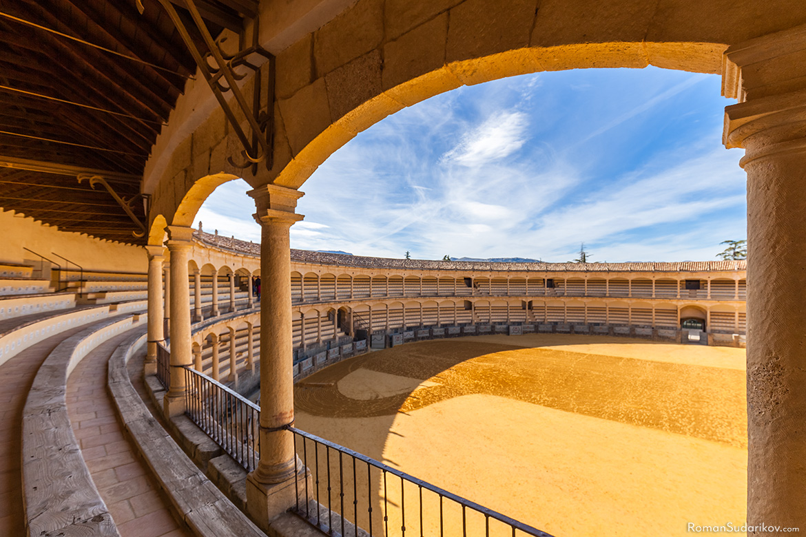 A view from the second floor of the bullfighting ring Plaza de Toros de Ronda. Andalusia, Andalucia, Spain.