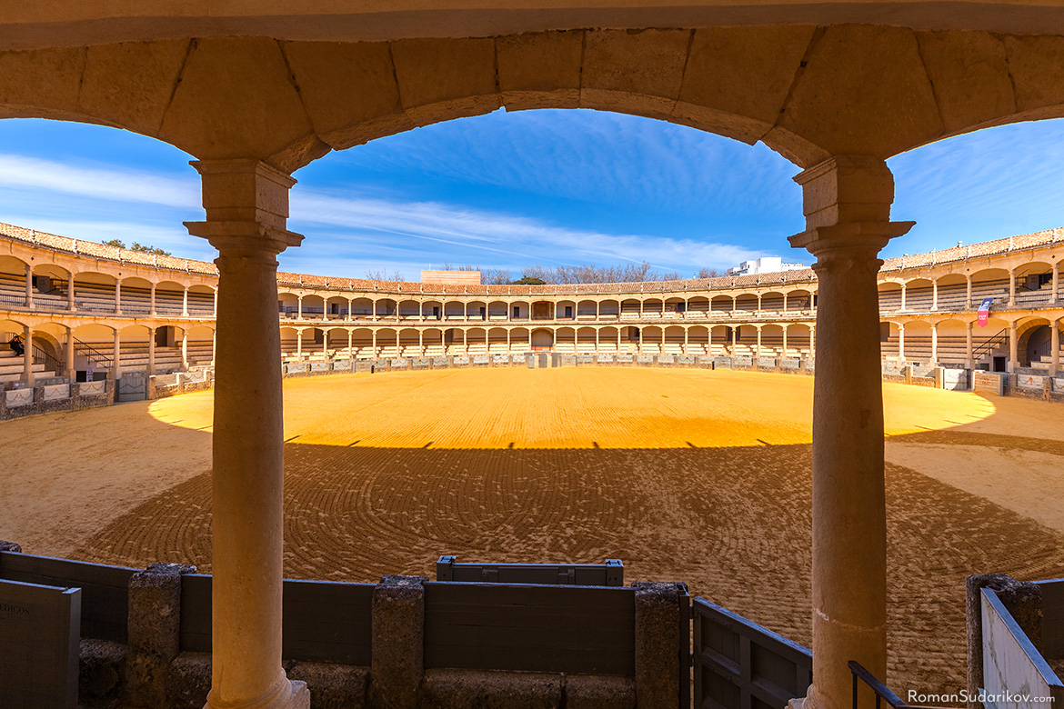 A view from the first floor of the bullfighting ring Plaza de Toros de Ronda. Andalusia, Andalucia, Spain.