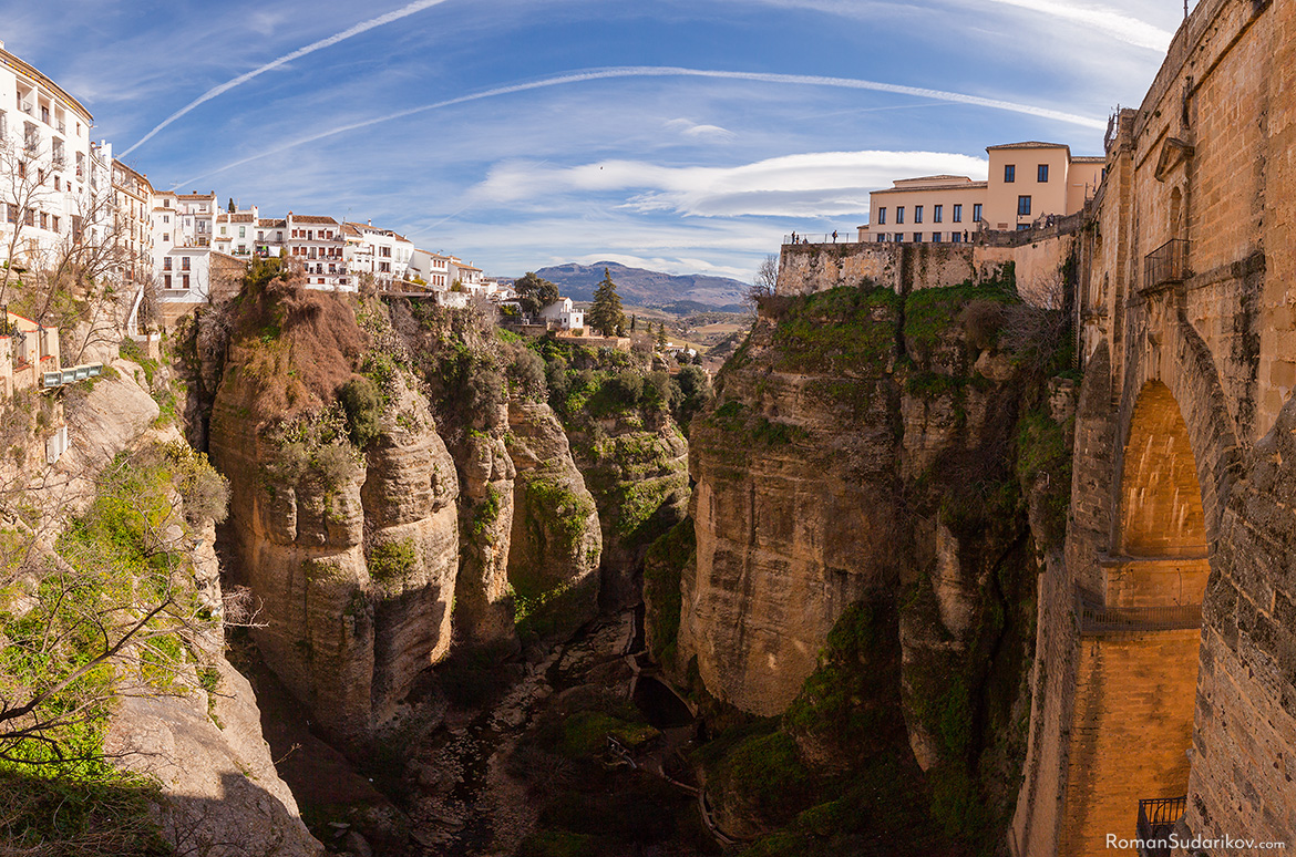 At the bottom of 100-meter-deep El Tajo gorge flows The Guadalevín River. Andalusia, Andalucia, Spain.