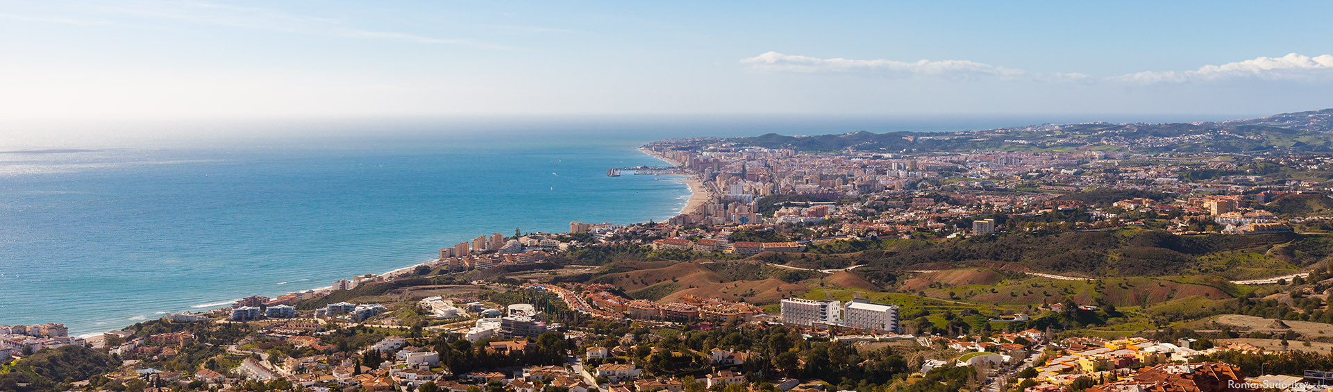 A view of Fuengirola as seen from a mountain. Costa del Sol, Spain.