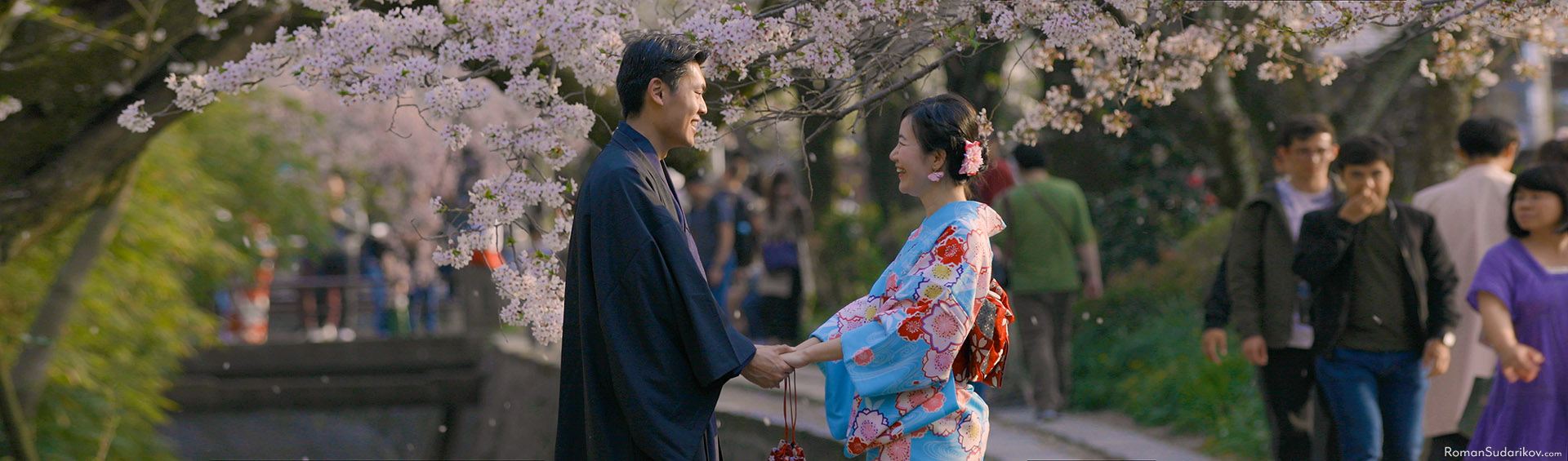 Young couple in beautiful kimono is enjoying each other's company under cherry blossom trees at Philosopher's Path in Kyoto.
